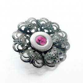 Hot Pink Silver Filigree Brooch