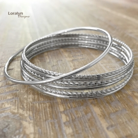 Stackable Metal Bangle Bracelets Jewelry Gift Set for Women Casual or Work