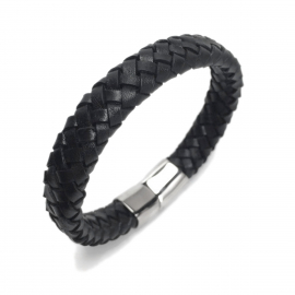 Cool Mens Cuff Bracelet 2019 Womens Dark Woven Leather Bangle