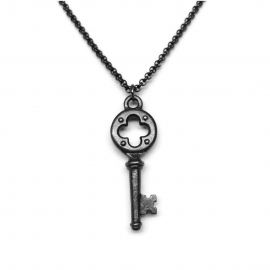 Medieval Black Key Pendant Necklace
