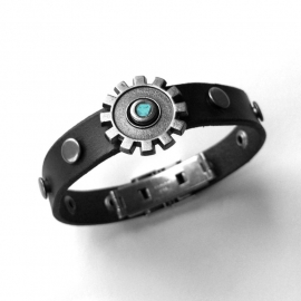 Handmade Black Leather Bracelet with Grommets