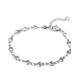 Adjustable Heart Chain Bracelet Silver Love Jewelry Gift for Girlfriend