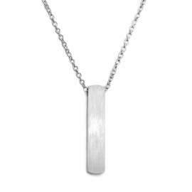 Silver Womens Minimalist Layering Bar Pendant Necklace 16 to 20 Inch Chain