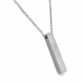 Simple Plain Silver Drop Pendant Necklace for Her Modern Side Hole
