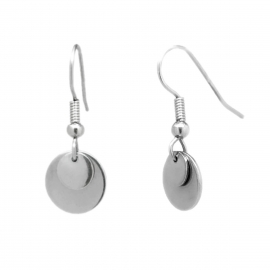 Casual Plain Circle Silver Stainless Steel Drop Earrings for Her