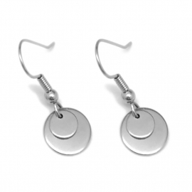 Simple Silver Artisan Designer Modern Circle Earrings by Loralyn Designs