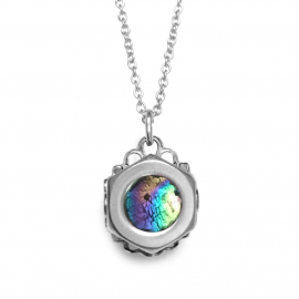 Artsy irridescent colorful pendant in silver, yellow, hot pink, blue and teal