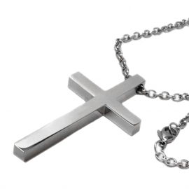 Large Plain Silver Titanium Religious Cross Necklace for Him