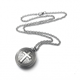 Silver Steel Mens Steel Biker Necklace