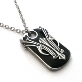 Mens Tribal Dog Tag Necklace Pendant Silver and Black