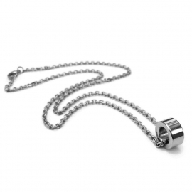 Casual Silver Circle Necklace for Men