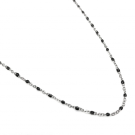 silver chain alternative for women black detail texture for layering