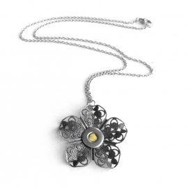 Sweet 16 Necklace Silver Filigree Flower