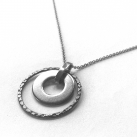Simple Hammered Round Pendant for Her Stainless Steel