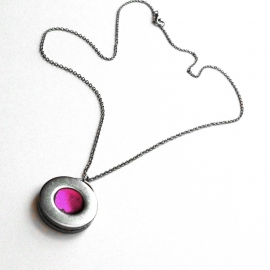 Hot Pink and Silver Necklace Simple Steel