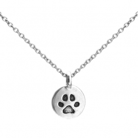 Small Silver Round Coin Cat Claw Footprint Necklace Gifts for Work Colleague