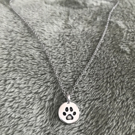 Memorial Jewelry for Kitten Lover Gift Engraved Paw Print Silver