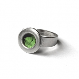 Modern Green and Silver Ring for Woman