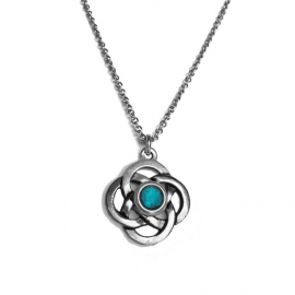 Teal Blue Silver Celtic Knot Womens Pendant Necklace