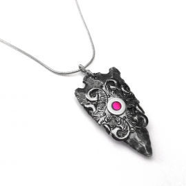 Hot Pink Arrowhead Steel and Pewter Pendant Necklace Design