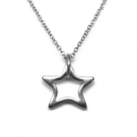 Simple Silver Star Pendant Necklace Gift for Teenage Girl