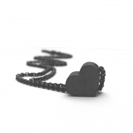 Tiny Dark Love Pendant Necklace 3D Printed