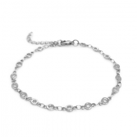 Elegant Silver Open Circle Link Chain Bracelet for Women and Teen Girls
