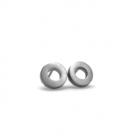 Silver Washer Studs Post Earrings Hypoallergenic 316L