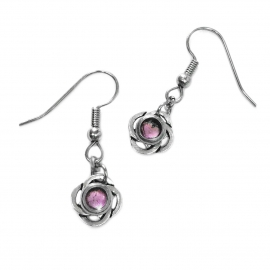 Silver Irish Weave Dangle Earrings Pink Resin Center as Seen on Jane the Virgin