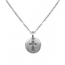 Unique Round Silver Catholic Cross Coin Pendant Necklace