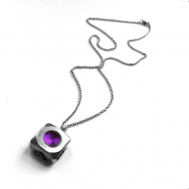 Industrial Necklace Silver and Purple Jewelry