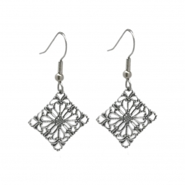 Feminine Silver Cutout Drop Earrings Great for Sensitive Skin
