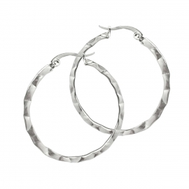 Medium Circle Earrings Simple Plain Round 316L Titanium Steel Metal Earrings