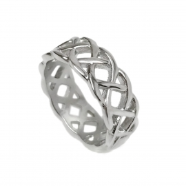 Unique Mens Cetic Braid Band Ring Open Silver Wire Weave