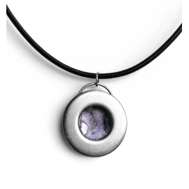 Simple Round Steel Pendant Lavendar Center
