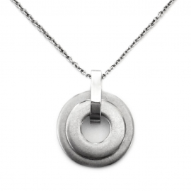Long Silver Simple Circle Donut Layering Necklace Lobster Clasp Closure