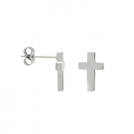 Simple Silver Memorial Cross Stud Earrings for Men, Women or Teen Girls