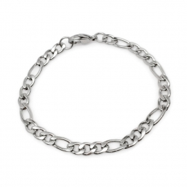 Simple thin oval link titanium steel mens bracelet