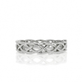 Unique Womens Celtic Braid Band Ring Open Silver Wire Weave