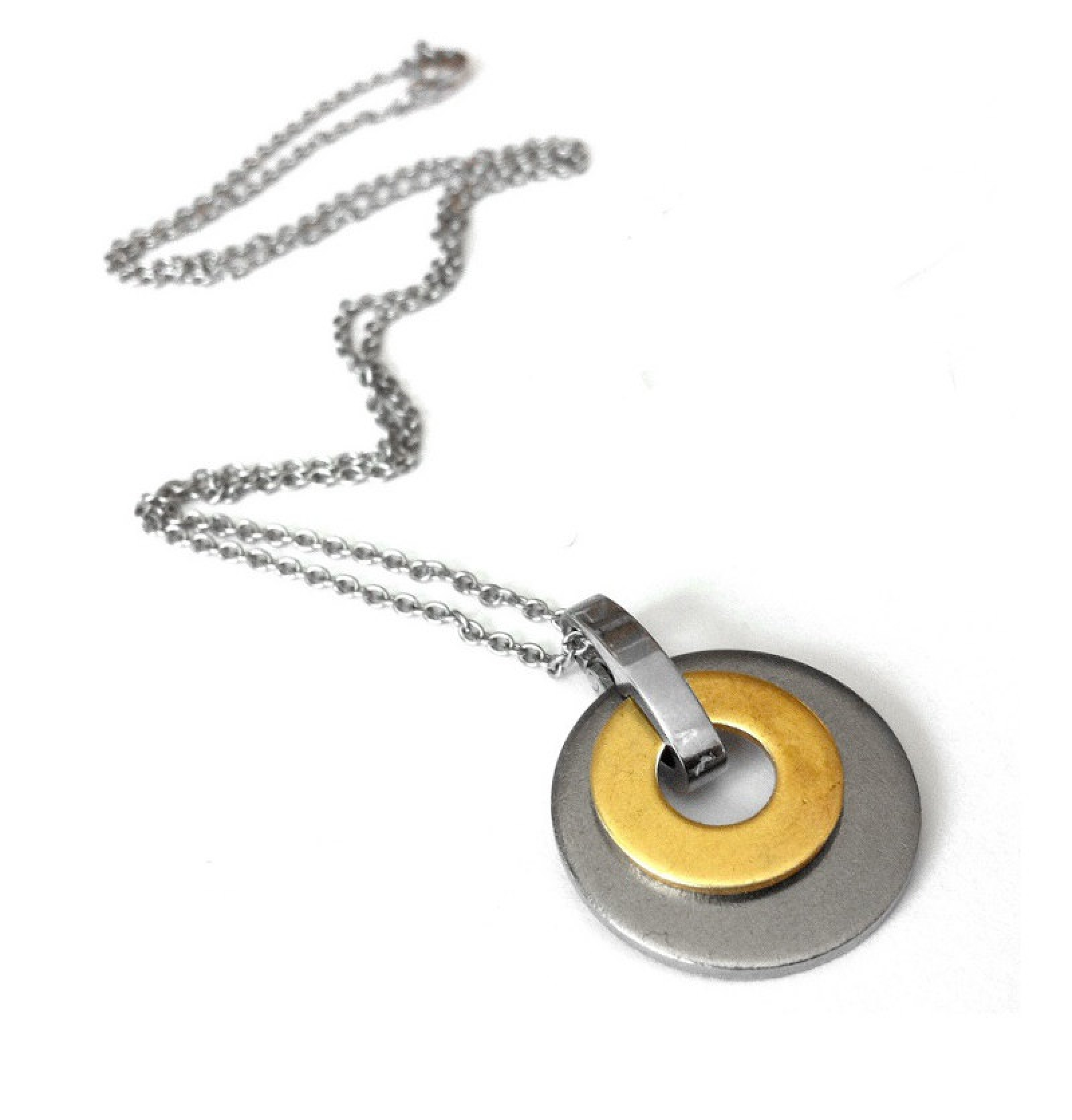 Stainless Steel Silver Color Not Plated Circle Necklace  b060aa363