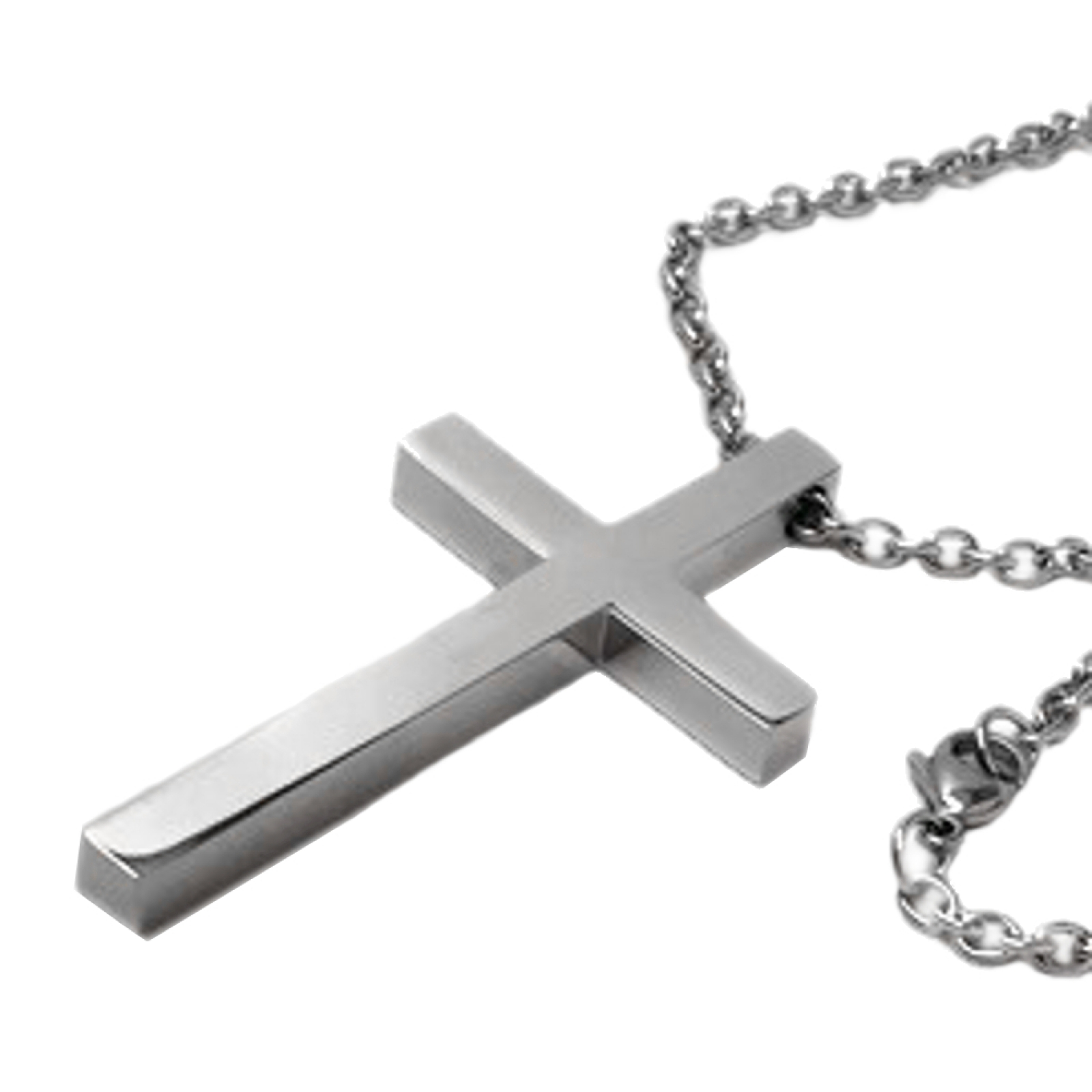 Modern mens trendy christian jewelry steel cross pendant necklace large plain silver titanium religious cross necklace for him aloadofball Choice Image