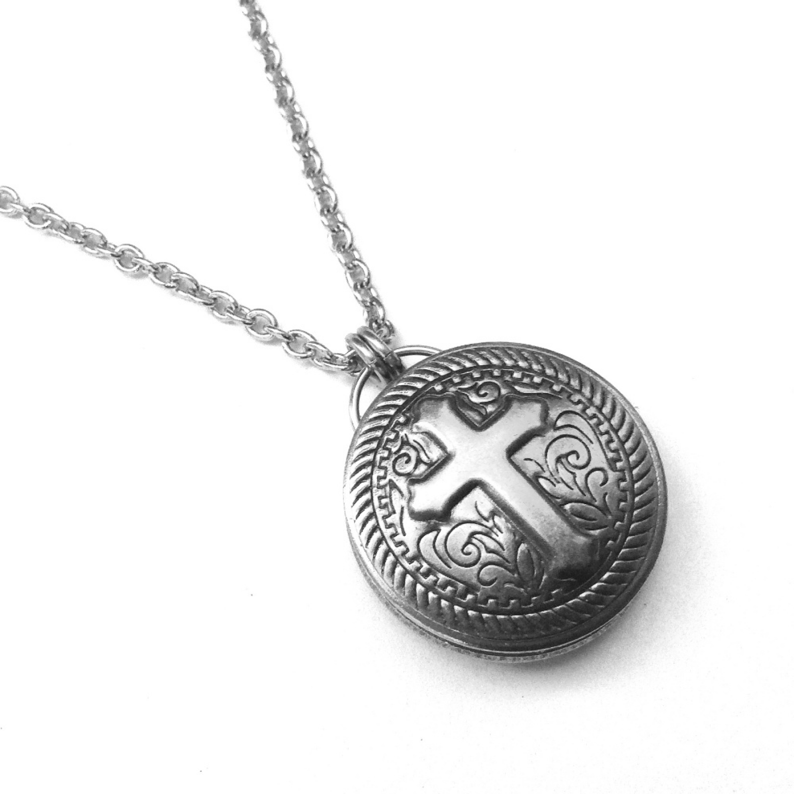 Motorcycle jewelry cross silver stainless steel round