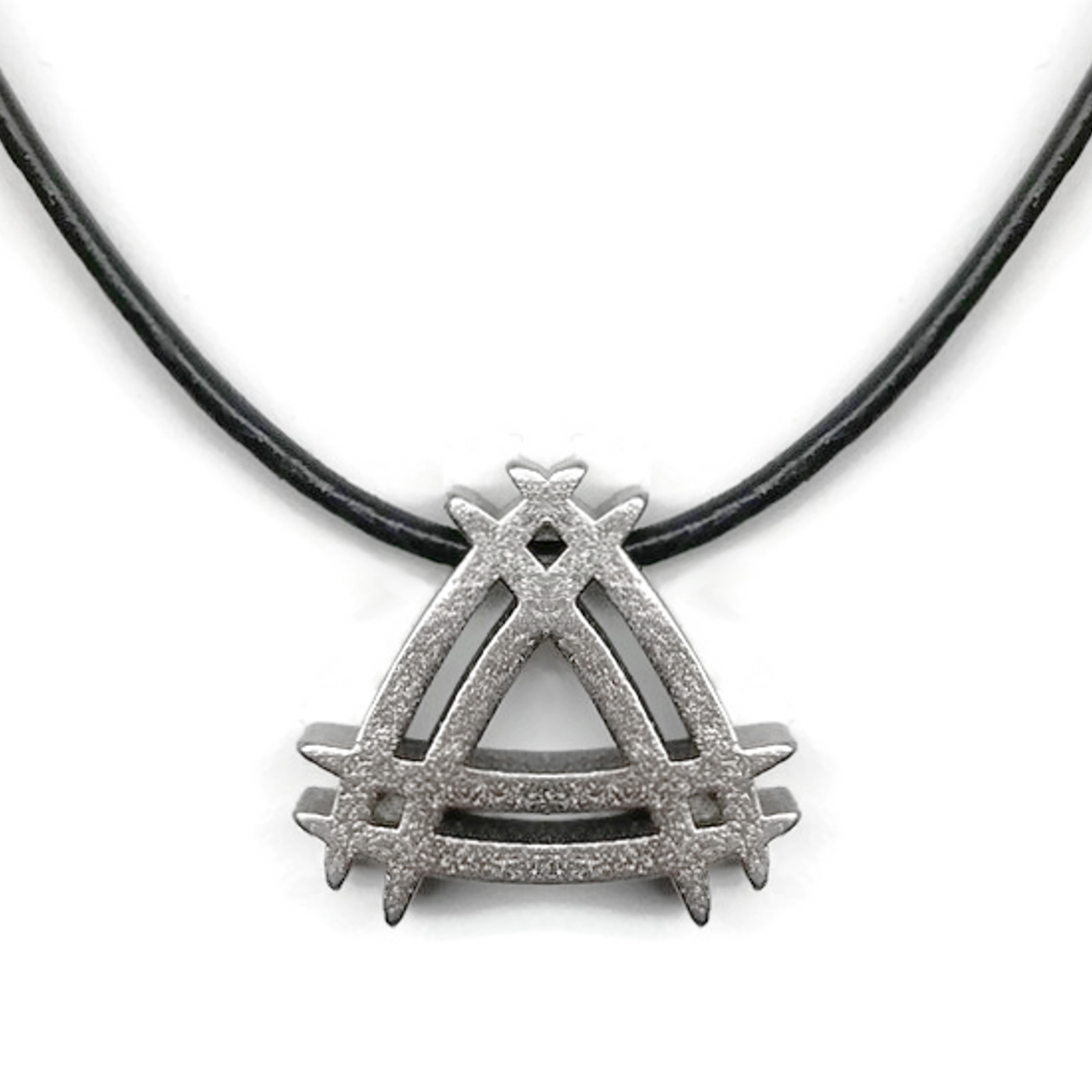Double triangle handrawn 3d printed steel pendant necklace loralyn unique mens stainless steel necklace exclusive design mozeypictures Image collections