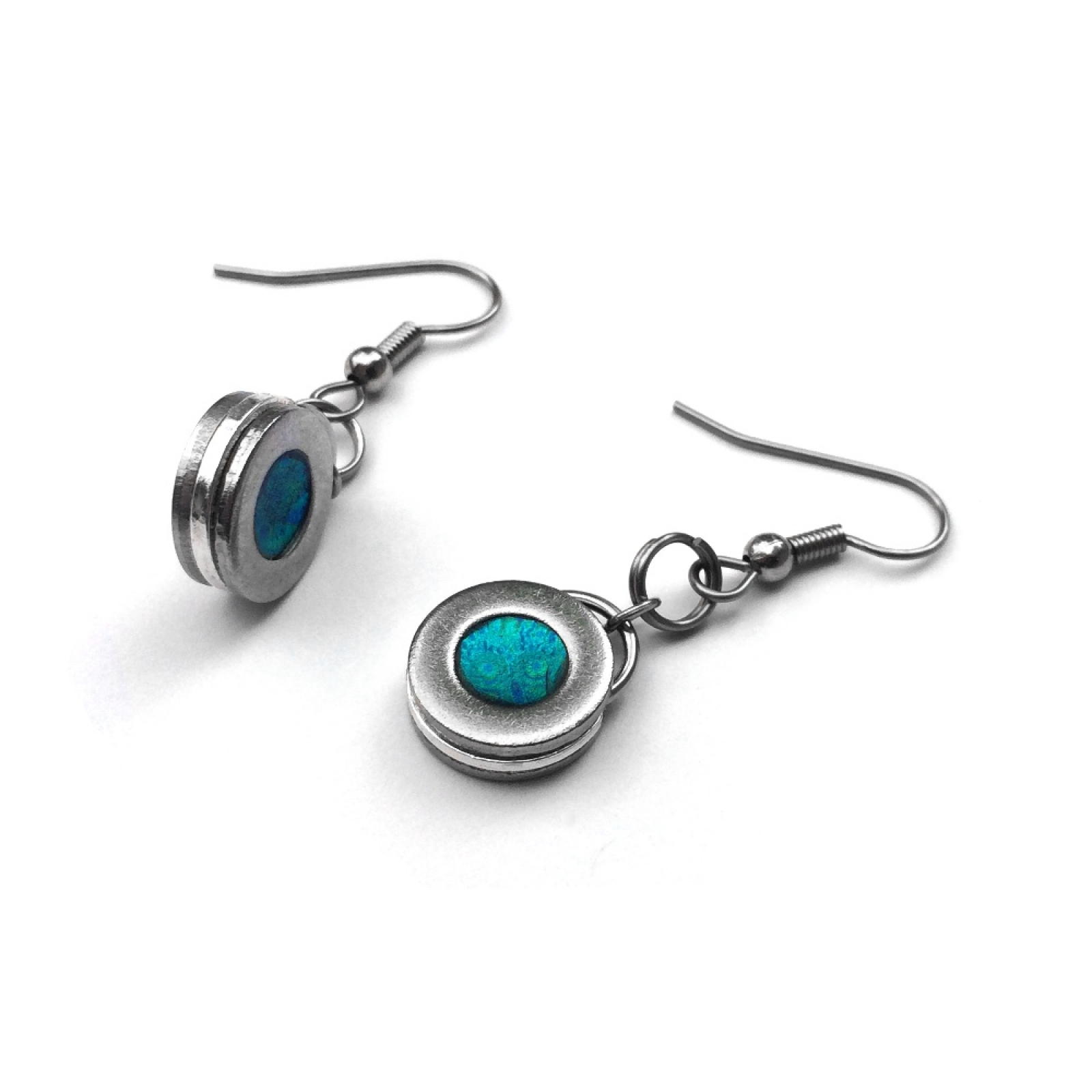 Fashion Handmade Designer Earrings Stainless Steel Silver And Teal