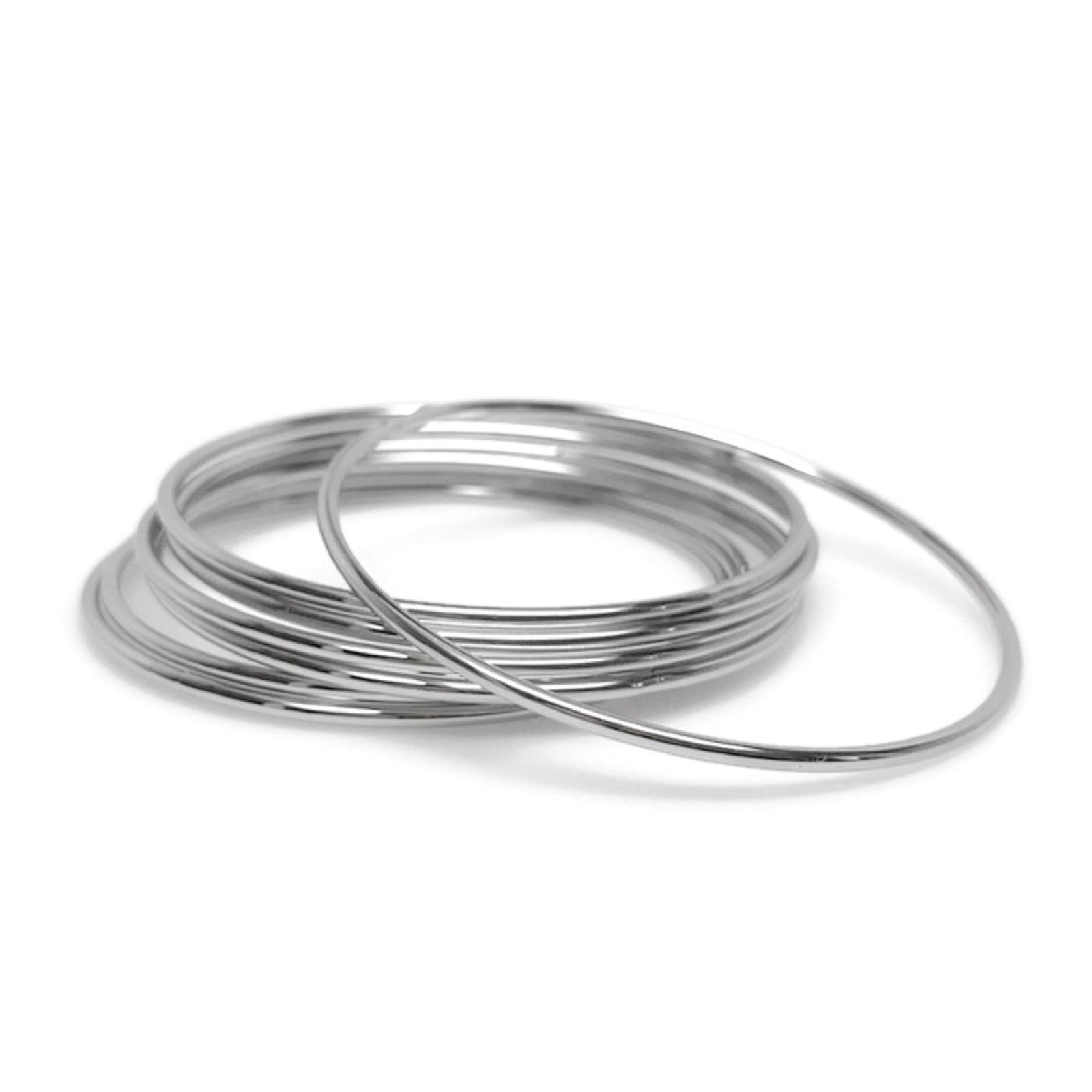 Jewelry Gift Idea for Mom Stackable Closed Thin Silver Bangle Bracelets 9415679e8a