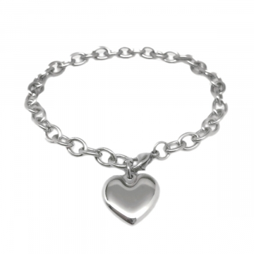 Stainless Steel Heart Charm Chain Bracelet