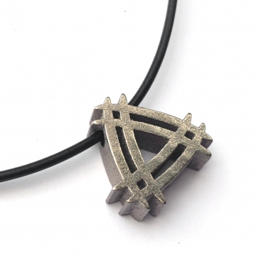 Mens Futuristic Necklace Double Triangle in Bronze Cast Steel
