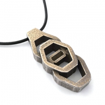 Mens Tribal Pendant Necklace Bronze Cast Steel