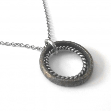 Unisex Textured Bronze Stainless Steel Ring Pendant