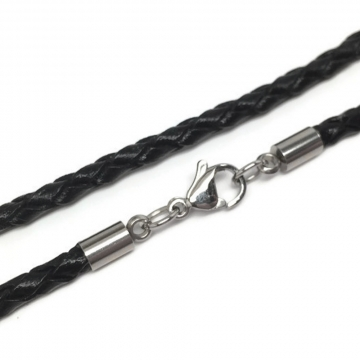 3mm Black Braided Leather Necklace Cord (3mm) with Stainless Steel Lobster Clasp (16 - 24 Inch)